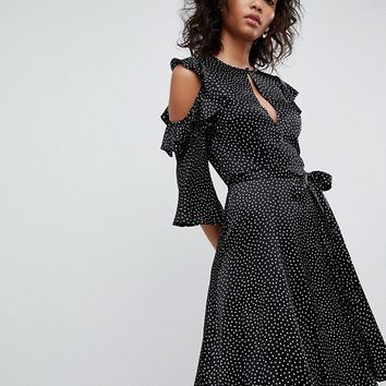 Ghost cold shoulder dress with frill detail at asos.com
