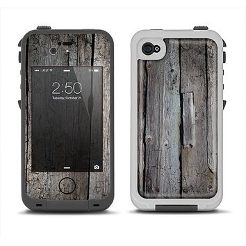 The Cracked Wooden Planks Apple iPhone 4-4s LifeProof Fre Case Skin Set