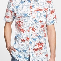 Men's Rip Curl 'Reverse' Trim Fit Short Sleeve Palm Print Woven Shirt