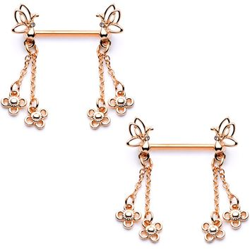 "9/16"" Clear Gem Rose Gold Tone Butterfly Dangle Barbell Nipple Ring Set"