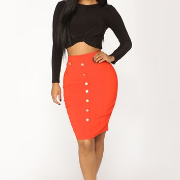 Mercury Retrograde Midi Skirt - Red