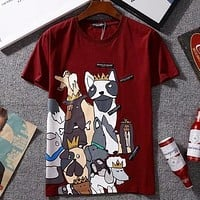 D&G Stylish New Style Women Men Casual Cartoon Dog Print Short Sleeve T-Shirt Pullover Top I-GQHY-DLSX