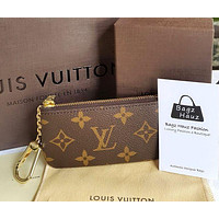 LV Louis Vuitton Stylish Zipper Key Pouch Clutch Bag