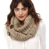 Knit Infinity with Button Close, Beige