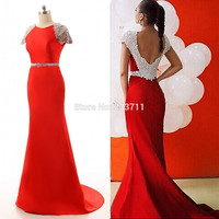 Charming Satin Beaded Red Mermaid Long Evening Dresses 2016 Robe De Soiree Backless Court Train 11183