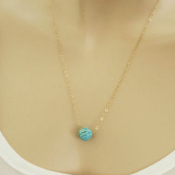 Single Turquoise Pendant Necklace, Necklaces for Girlfriend, Minimal Gold Filled Necklace,