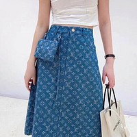 Louis Vuitton LV AAA women's denim skirt with full print