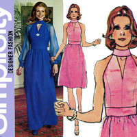 1970s Dress Pattern Simplicity 6033 Bust 34 40 Uncut Evening Cocktail Party Dress High Waist Cutaway Shoulders Womens Vintage Sewing Pattern