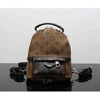 LV Louis Vuitton Fashion Women Print Shoulder Bag Bookbag Backpack School Bag Brown I
