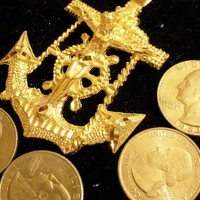bling 14k yellow gold plated navy usn sailboat sailor cross anchor sailing sign symbol hip hop pendant charm 24 inch rope chain necklace trendy sailor seaman fashion jewelry