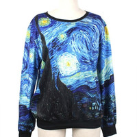 Vincent Van Gogh Starry Night Sweatshirt Starry Night Hoodies Women/Men hoodies galaxy Top Space Printed Hoodies Running galaxy sweatshirts