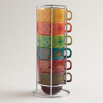Romantic Floral Stacking Mugs, Set of 6 - World Market