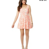 Aeropostale Womens Printed Lace Dress - Orange,