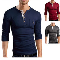 Slim Fit Long Sleeve Henley Tee