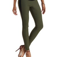 Olive Color Block High-Waisted Skinny Pants by Charlotte Russe