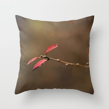 Fall Throw Pillow Cover Photography Print Polyester Topaz Bronze Leaves Fall Red Home Decor Accent Cushion Covers