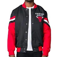 CHICAGO BULLS Winter Popular Men Women Cool Hip Hop Cardigan Cotton Jacket Coat Windbreaker Black