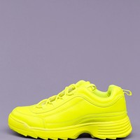 Neon Lace Up Thick Sole Dad Sneakers