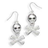 Swarovski Crystal Skull and Cross Bone French Wire Fashion Earrings