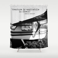 Airplane Shower, Plane Shower Curtain, Black White Bathroom, Amelia Earhart Quote, Love of Flying, Pilot Gift, Plane Enthusiast, Adventure