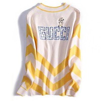 GUCCI Fashion Women Casual Long Sleeve V Collar Stripe Cute Embroidery Knit Jacket Coat White/Yellow