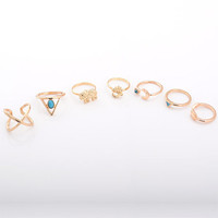 Cupshe Oh My Love Turquoise Pieces Rings