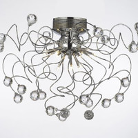 9 Light Contemporary K9 Crystal Chandelier Lighting (Bulb Included), Chrome - G7-984/9