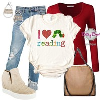 (pre-order) Set 481: I Love Reading Uni Sex Tee (incl. tee, cardy & earrings)