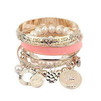 Girl's Women's Fashion Jewelry Multi-Layer Hand Pearl Beads Chain Bohemian Bracelet Bangle = 1928789764