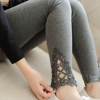 2016 Spring Autumn Women Modal Cozy Cotton Knitted leggings hollow out Lace diamond print flower Thin section Mid waist pants
