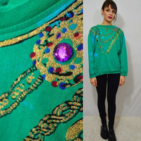 Vintage Jewel Shirt Gold Chain 80s 90s Soft Grunge Hipster Women's Clothing Green Blue Gold Glitter Large Slouchy Oversize 1990s
