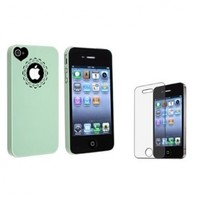 eForCity Mint Green Sweet Heart Hard plastic Case + FREE Anti-Glare LCD Cover compatible + Apple iPhone 4/4s