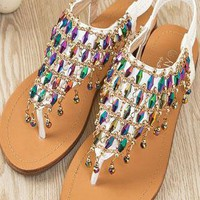 Unique Color Rhinestone  Flat Sandals from styleonline