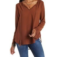 Rust Tassel-Tipped Tie-Neck Top by Charlotte Russe