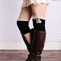 Lace Trim 2 Button Cable Knit Boot Cuffs Black Ankle Socks