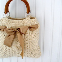 Beige handbag Knit tote bag purse Spring fashion Gift for mom Pastel Wedding gift  Holiday party accessories