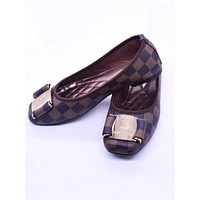 LV Fashion Shoes Comfort flat shoes Egg roll Lady Shoes Coffee