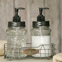 Soap and Lotion Caddy with Clear Glass Dispensers