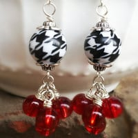 Houndstooth Bead and Red Cluster Beaded Dangle Earrings