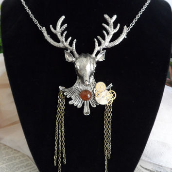 Steampunk Deer Necklace, Fawn, Gears, Industrial, Woodland Creatures S02