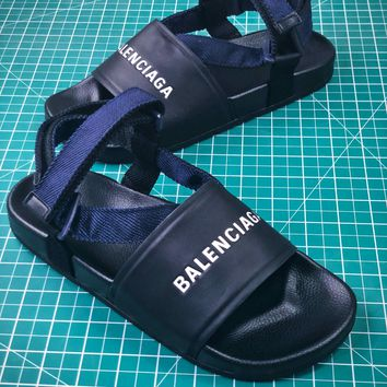 Balenciaga Logo Leather Slip-on Black Sandals - Sale