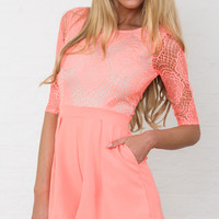 ONLY LACE PLAYSUIT IN PEACH