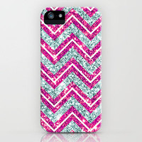 Chevron Glitter Pink & Blue Bling iPhone Case by Girly | Society6