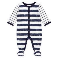 Petit Lem™ Distressed Stripe Footie in Navy/White