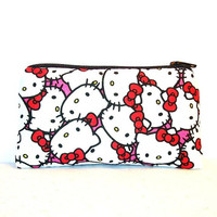"Hello Kitty Faces on Hot Pink Cotton Padded Pipe Pouch 5.5"" / Glass Pipe Case / Spoon Cozy / Piece Protector / Pipe Bag / SMALL"