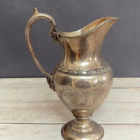 Rogers Smith Co Silver/ Silver Pitcher/ Silver Plate Pitcher/ New Haven Connecticut/ Ornate/ Antique Trophy/ Rustic Pitcher/ Silver Vase