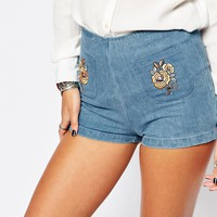 Motel Kat High Rise Denim Shorts With Embroidered Pockets