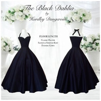 Floor Length Black DAHLIA Halter Dress, 1950s Style Sweetheart Rockabilly Wedding, Semi Formal Knit SATEEN Evening Gown