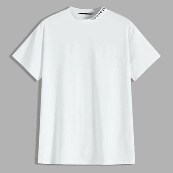 Fashion Casual Men Letter Graphic Mock Neck Tee