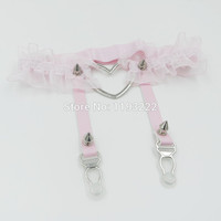 Sexy Lace Elastic Flower Garter Handmade Lolita Kawaii Big Heart Leather Leg Garter Ring Belts Spikes Thigh Harness
